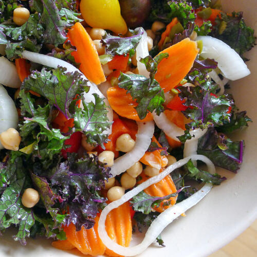 This kale salad eats like a meal. You will be surprised at how satisfying this simple salad is.