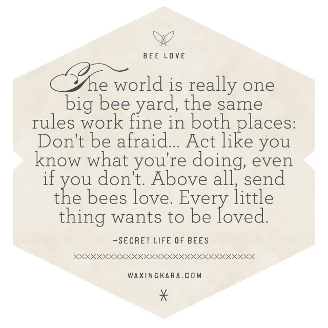 The world was really one big bee yard, and the same rules worked fine in both places: Don't be afraid…Act like you know what you're doing, even if you don't. Above all, send the bees love. Every little thing wants to be loved.