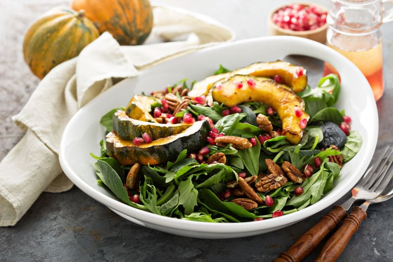 Fall Recipes of roasted squash salad with greens and honey glazed acorn squash
