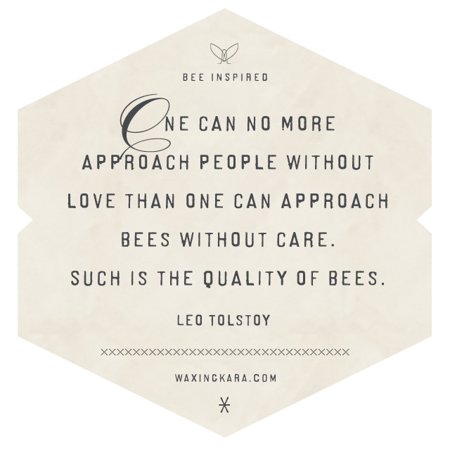 One can no more approach people without love than one can approach bees without care. Such is the quality of bees.--Leo Tolstoy Valentine Quote