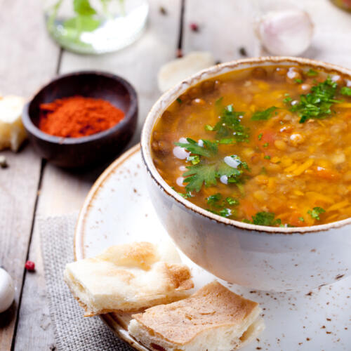 This lentil soup recipe is a nutritional powerhouse. It combines the nutrients, protein, good carbs & fiber in lentils with the antioxidant power of veggies.