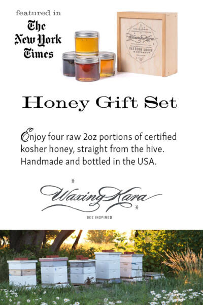 Honey Gift Set featured in the New York Times including four honey and wooden slide top box