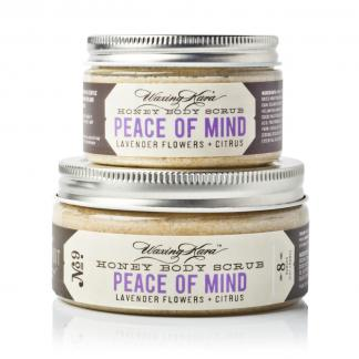 Peace of Mind Body Scrub in 4oz and 8oz size on white