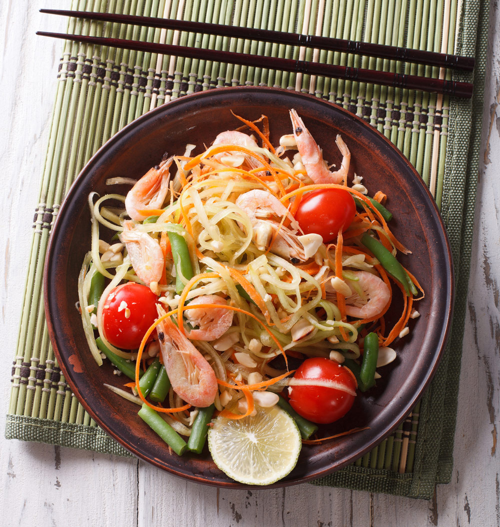 Learn how to make this easy and delicious papaya salad with green beans, tomatoes, peanuts, with a tangy pungent chili lime dressing made with Waxing Kara Clover Honey.