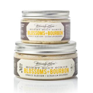 Blossoms Bourbon Scrub in 4oz and 8oz size on white