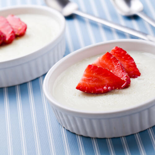 """Dairy-Free Panna Cotta is a cold Italian custard, often served with fruit sauce or caramel syrup. In Italian it translates to """"cooked cream""""."""