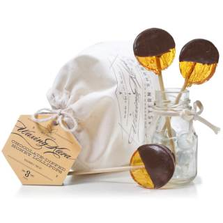 Dark Chocolate Dipped Honey Lollipops in set with bag and tag