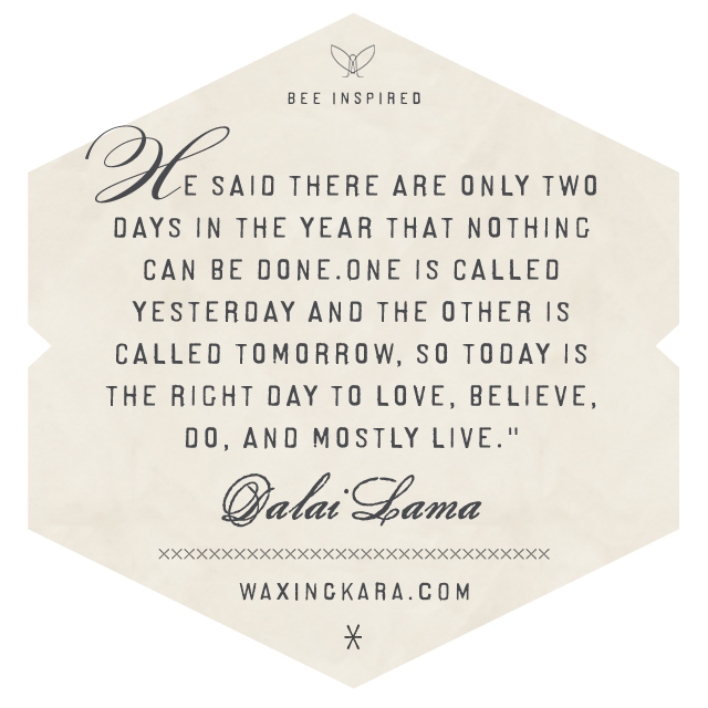 He said there are only tow days in the year that nothing can be done. One is called yesterday adn the other is called tomorrow, so today is the right day to love, believe, do, and mostly live. --Dalai Lama