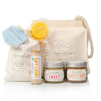 Gift of Gabby includes: sweet lips honey lip balm, sweet scrub, clarity mask, strength bar soap and a honey lollipop in an awesome reusable, handstampeed make-up bag
