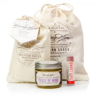 Girlfriend Gift Peace of Mind Honey Body Scrub, Petal Tinted Sweet Lips made with honey, and a bar of fruity and sweet smelling Sun Bar Soap in a beautiful hand-stamped Waxing Kara muslin sack.