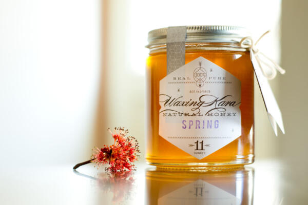 Spring honey with spring flower blossom next to it on kitchen counter