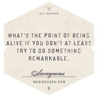 What's the point of being alive if you don't at least try do do something remarkable. --Anonymous