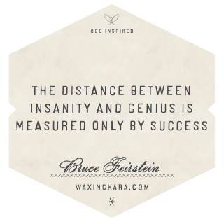 The distance between insanity and genius is measured only by success. --Bruce Feirstein