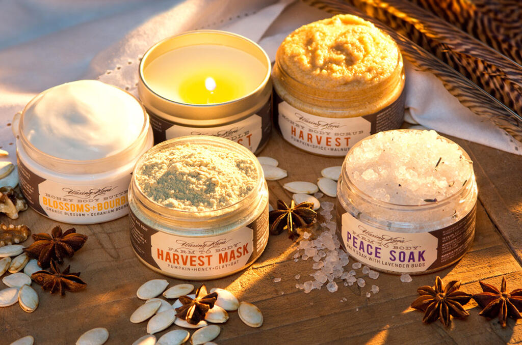 Harvest Ritual includes pumpkin scrub, Blossoms+Bourbon Butter, Peace Soak, Harvest Mask and Harvest Tin Candle.