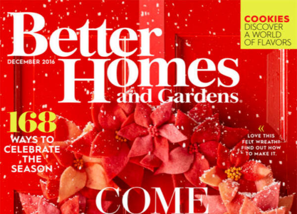 Better Homes and Gardens Dec 2016 cover