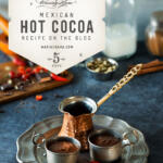 Mexican Hot Chocolate setting with platter and raw ingredients for making the recipe tall pin