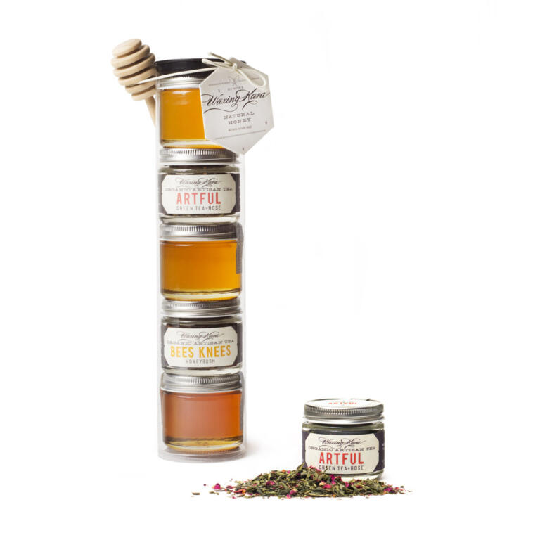 Tea for Two Tea and Honey Gift Set image featuring 3 2 oz raw honey selections, 2 organic loose leaf tea selections and an adorable honey dipper