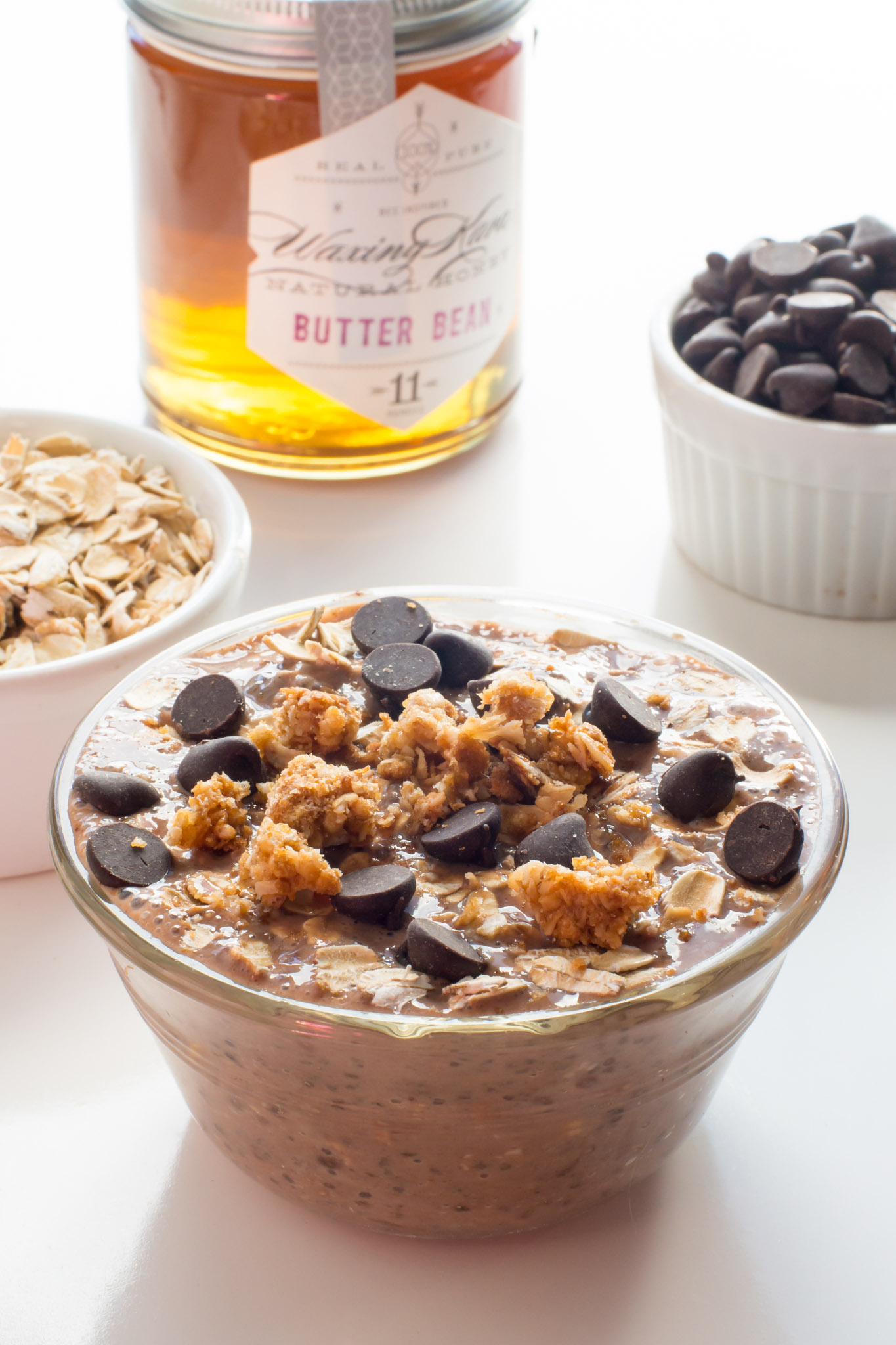 The flavor in this Chocolate Honey Overnight Oats is amazing. You might find yourself looking forward to getting up for another bowl tomorrow!