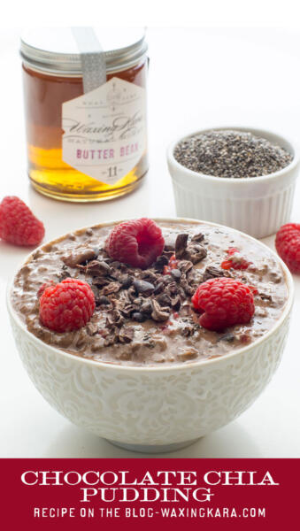 Chocolate Chia Pudding with Raspberries and cocoa nibs with Waxing Kara Eastern Shore Honey and a bowl of chia seeds tall pin