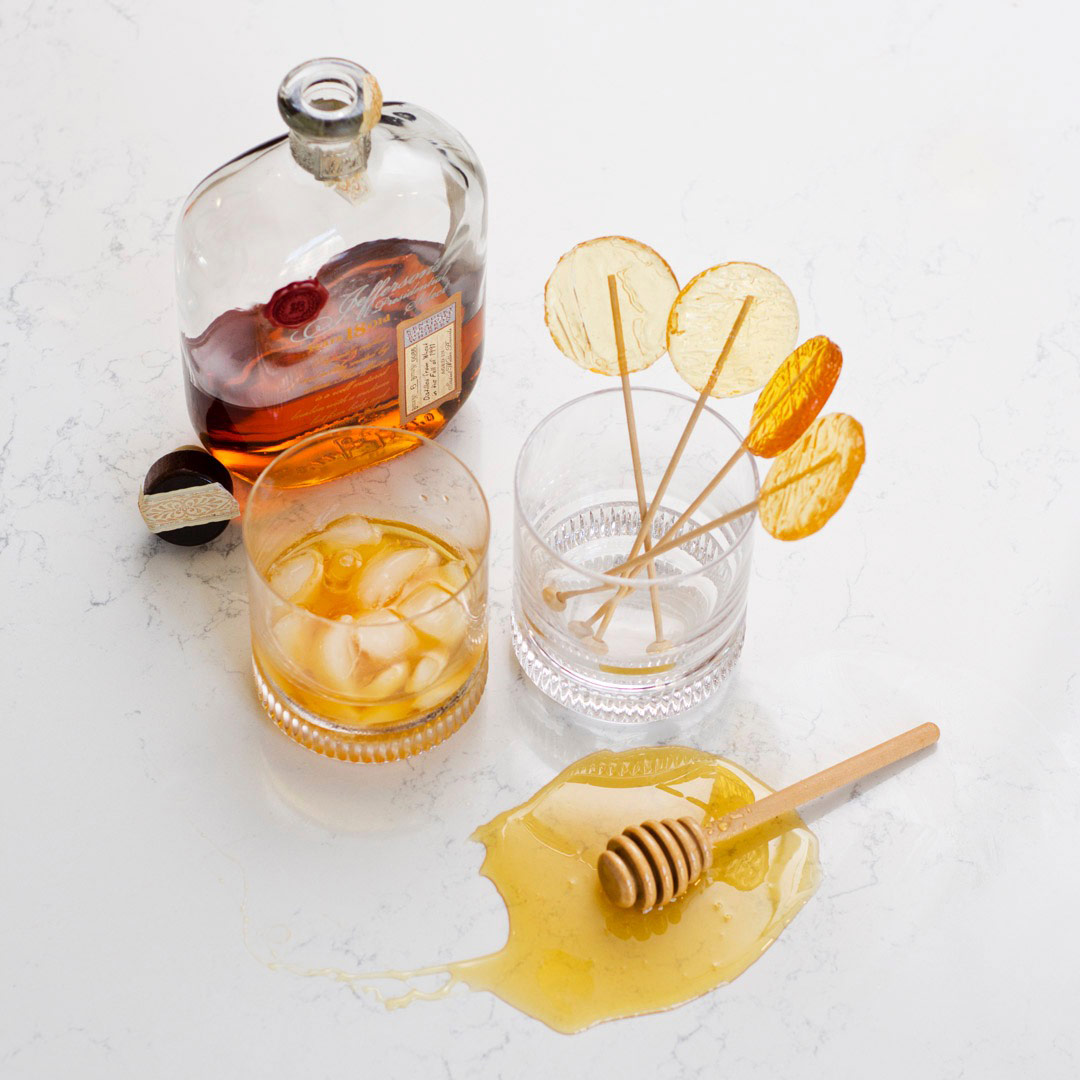 bourbon and honey lollipops