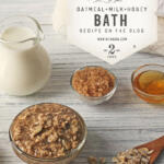 ingredients for making an oatmeal milk and honey bath on table