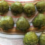 Preparing for grilled artichoke Trim artichokes after the choke has been removed, drying before being prepared to grill