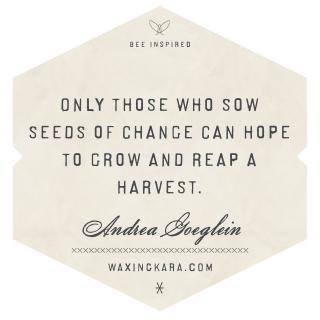 Only those who sow seeds of change can hope to grow and reap a harvest.