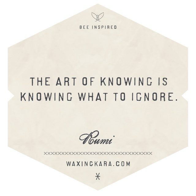 The art of knowing is knowing what to ignore-Rumi