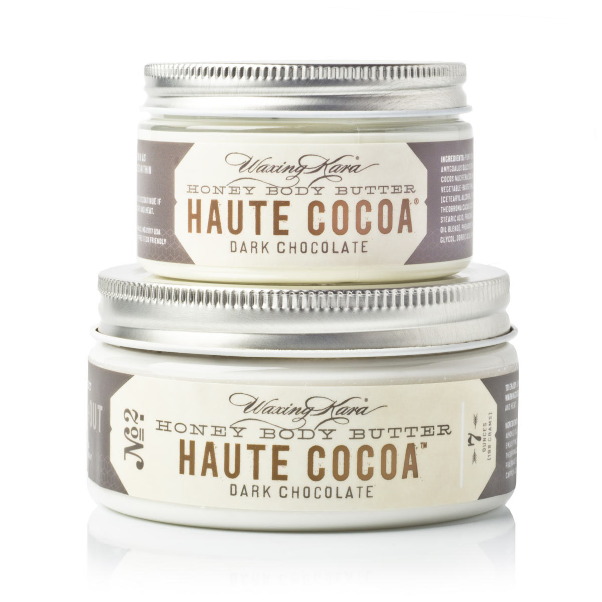 Haute Cocoa Butter in 4oz and 8oz size on white