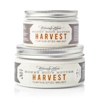 Harvest Pumpkin Body Butter stacked on top of each other on whilte in 8oz and 4oz