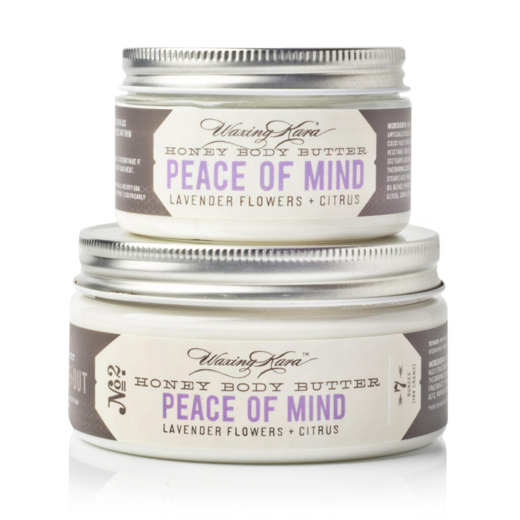Peace of Mind Body Butter in 4oz and 8oz size on white