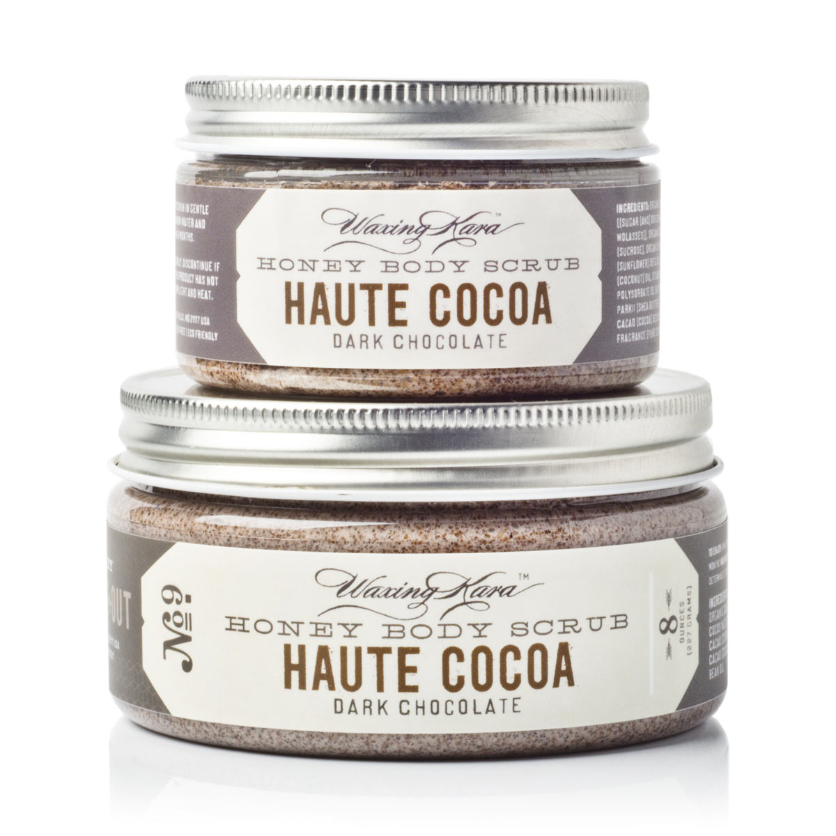 Haute Cocoa Scrub in 4oz and 8oz size on white