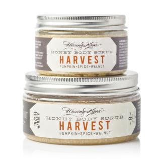 Harvest Pumpkin Scrub Packages in 4oz and 8oz size on white table