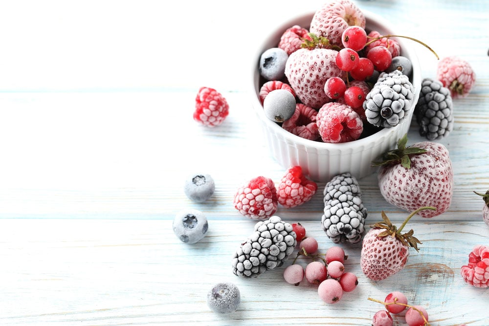frozen berries in a bowl for sugar free sorbet