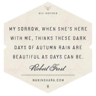 My sorrow, when she's here with me, thinks these dark days of autumn rain are beautiful as days can be--Robert Frost