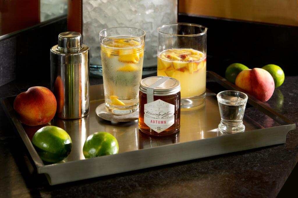Drink setting for eastern shore honey vodka Easy Cocktail Recipes including shaker, tray and fruit