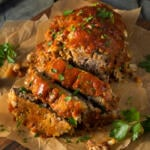 honey-glazed meatloaf made with beef, turkey, vegetables, and eastern shore honey