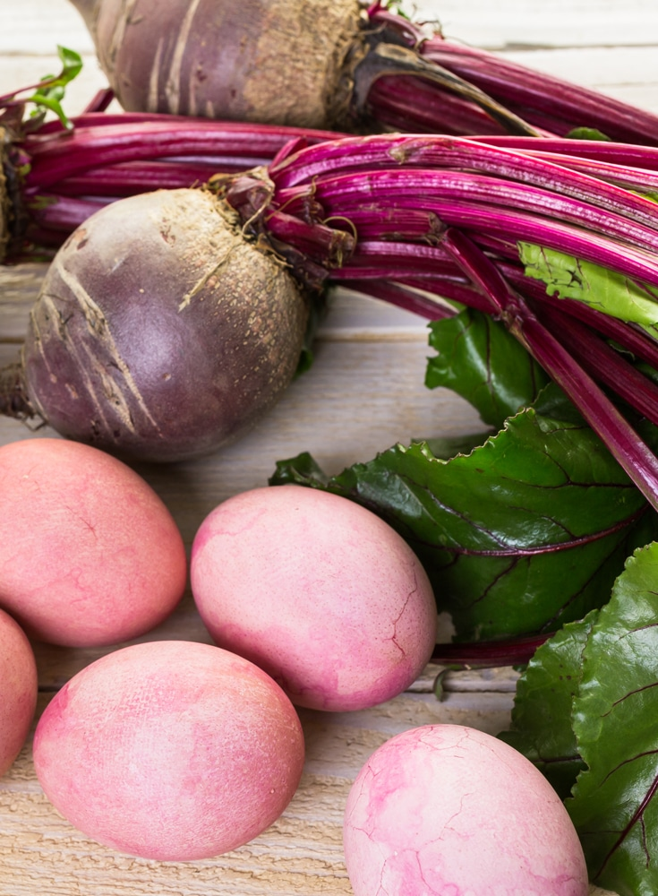 Pink Easter Eggs made with natural dyes with redbeets
