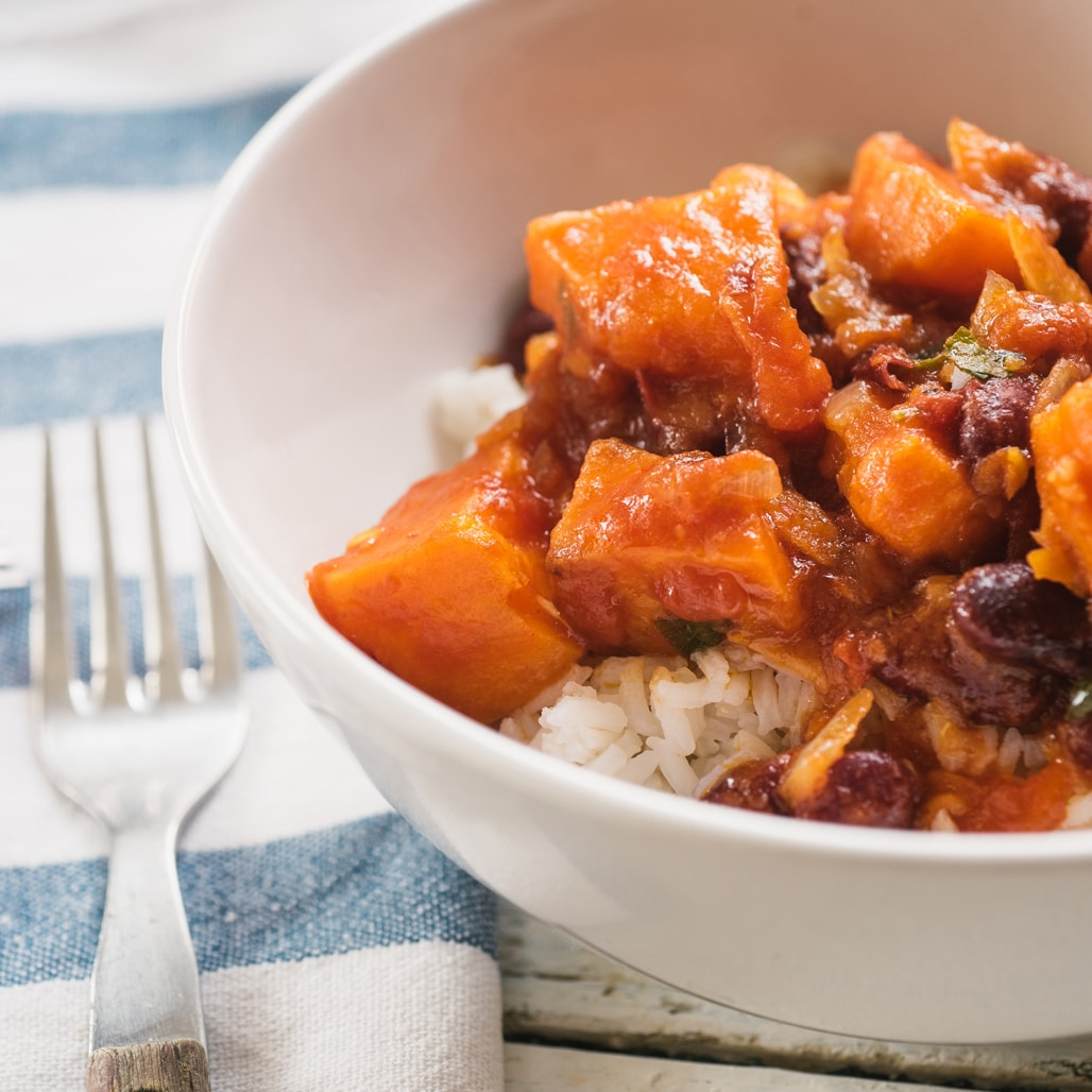 Smoky Sweet Potato Chili served over rice