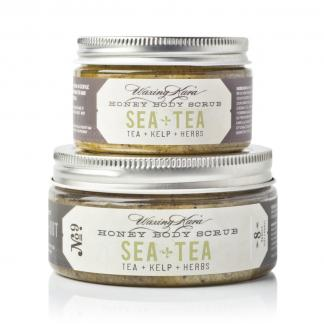 Sea+Tea Honey Body Scrub stack of two jars on white background