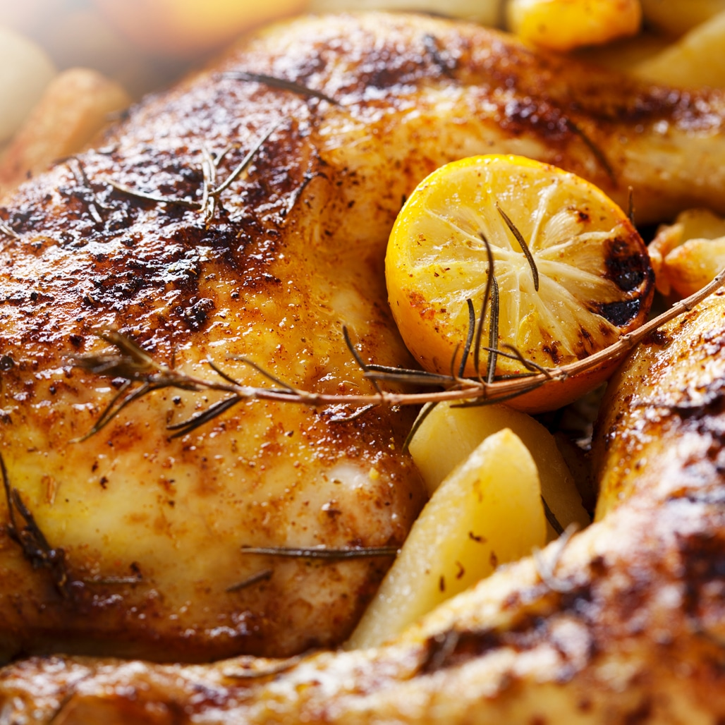 Roasted chicken made with a honey mustard marinade