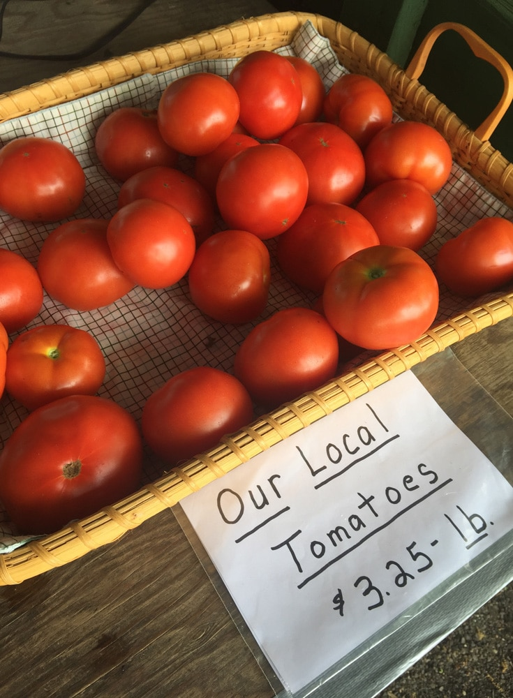Tomatoes for sale on the Eastern Shore