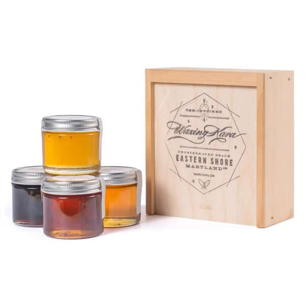 Honey Gift Set with 4 different varietal and artisanal honeys outside box