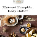 Harvest Pumpkin Body Butter tall pin with logo, ingredients and products on white