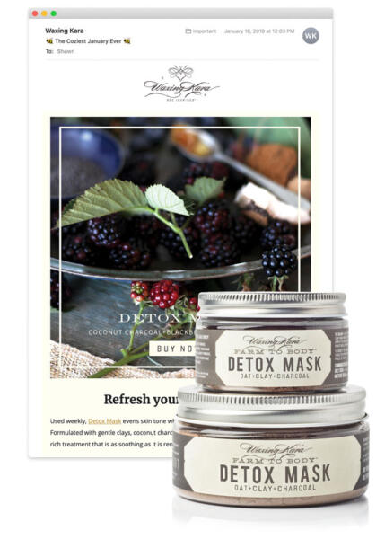 Screenshot of an email window with a pair of Detox Mask jars in the foreground