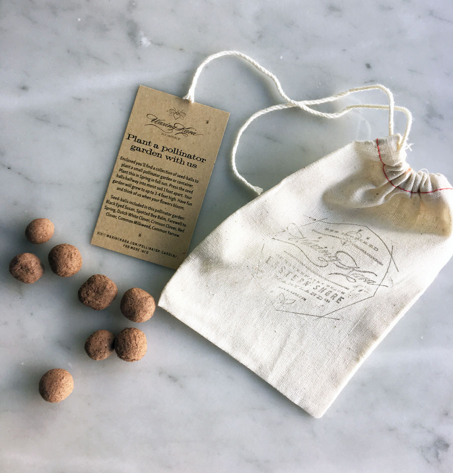Earth Day Seed Ball gift contents on marble counter including stamped muslin bag, seed balls, instruction card