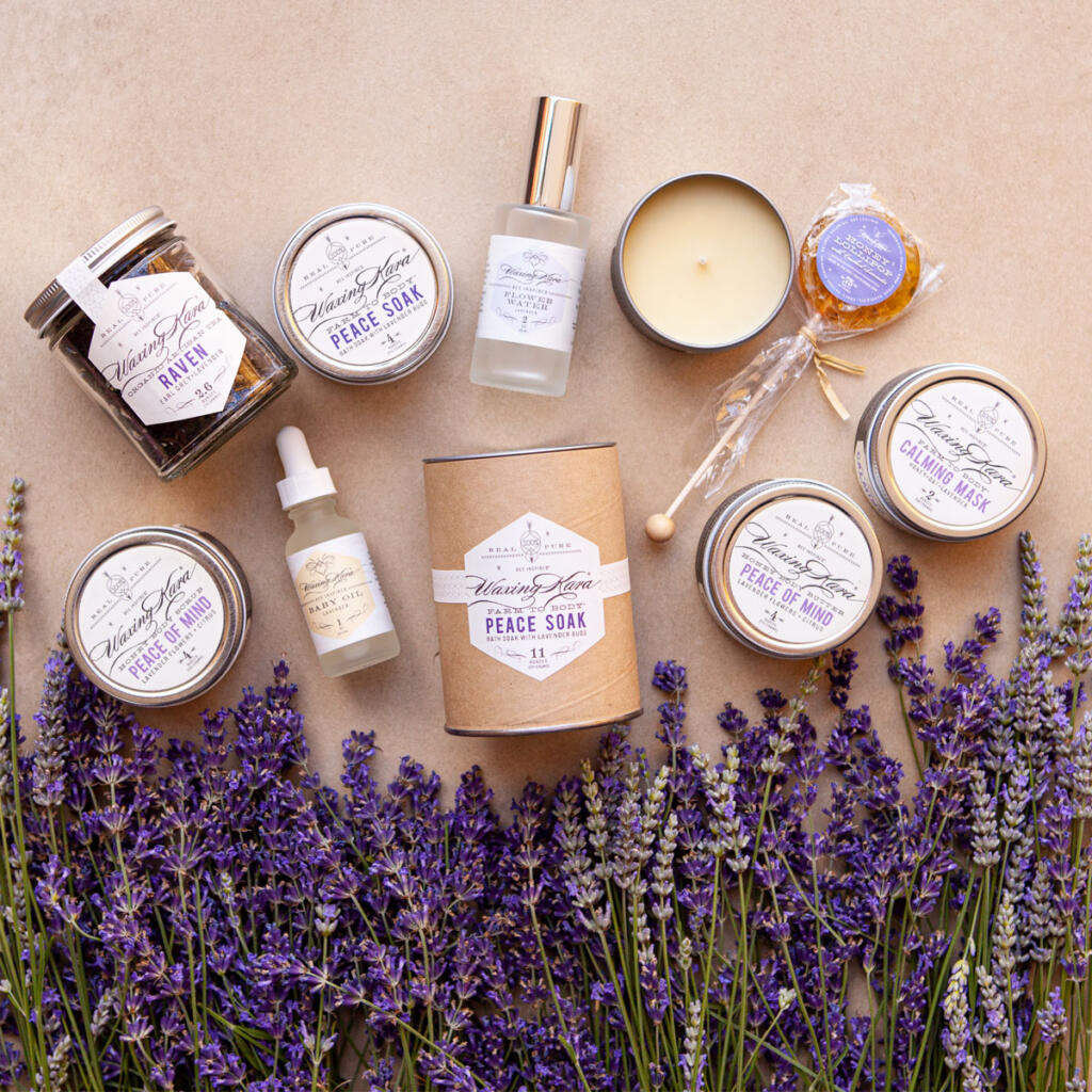 A collection of Waxing Kara products that contain lavender
