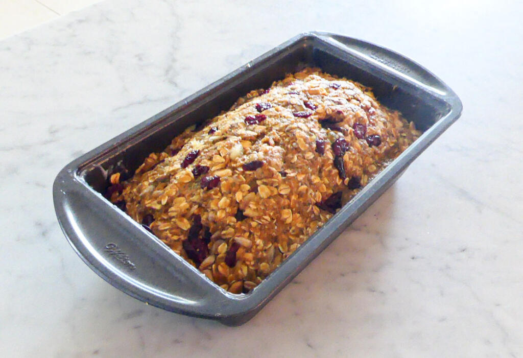 Seed and Nut Bread in loaf pan ready for baking