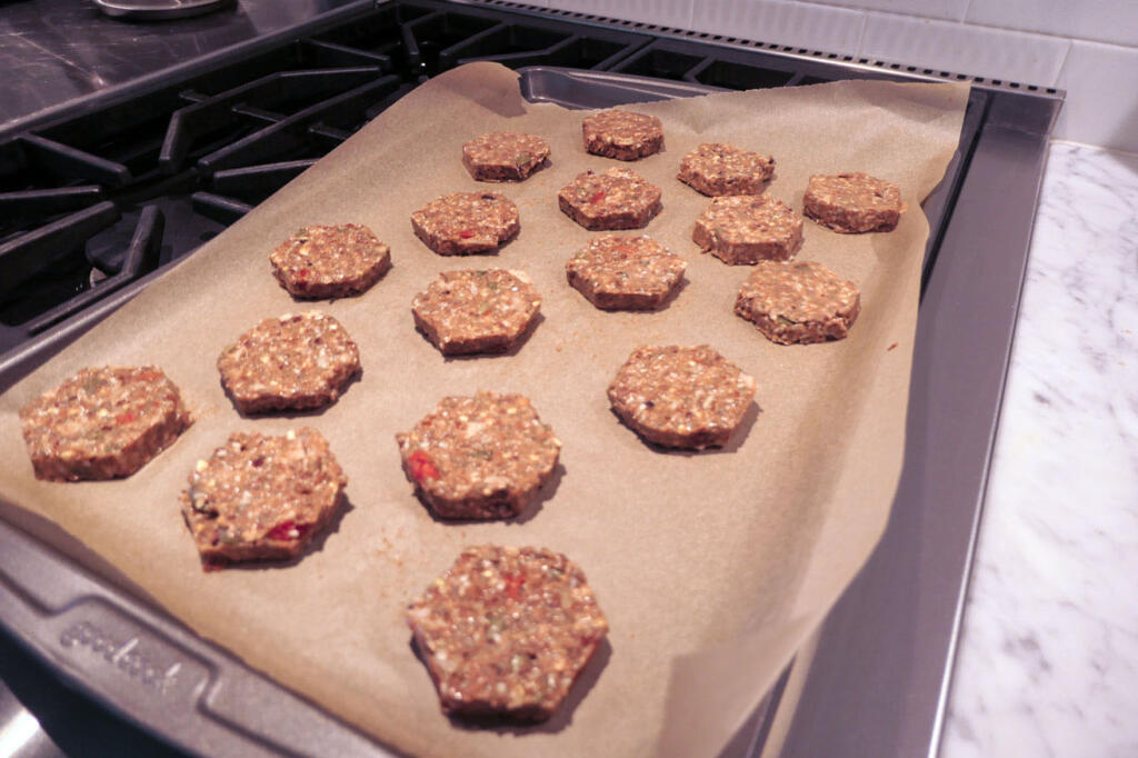 paleo cookies straight from the cookie form that was in the freezer